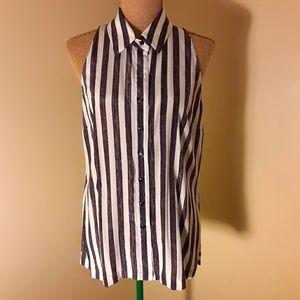Worth NY striped silk sleeveless button up sz 10